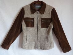 Wool & Corduroy Brown Zip Up Jacket Women's Warm Jacket Neutral Colors 4 Front Pockets Vintage Jacket Women's Clothing Everyday Clothing by Vintageby2sisters on Etsy