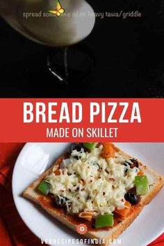 Bread Pizza Bread pizza is one of those recipes that anyone, young or old, can make. This stovetop recipe can be made with your choice of bread, toppings, and cheese so don't worry if you don't have all the ingredients available, make your own! This recipe is perfect for kids to start learning how to cook as it's not a difficult recipe. Try this easy recipe as a snack or light dinner today! #breadpizza #worldcuisine #vegetarian #quickandeasy #pizza #dinner #snacks<br> This bread pizza made… Vegetarian Recipes Videos, Vegetarian Snacks, Cooking Recipes, Indian Food Recipes Easy, Easy Recipes For Kids, Curry Recipes, Stove Top Recipes, Kitchen Recipes, Difficult Recipe