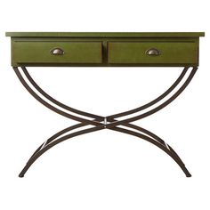 An eye-catching addition to your entryway or den, this stylish console table features 2 drawers and a curved metal base.   Product: ...
