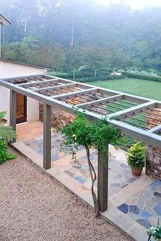 modern walkway pergola More #landscapedesign #frontyardlandscaping