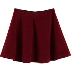 Wool Pleated Skirt (16 CAD) ❤ liked on Polyvore featuring skirts, bottoms, chicnova, bottoms - skirts, pleated skirt, red knee length skirt, wool skirt, red skirt and woolen skirts