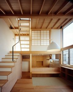 Exposed timber structure & rafters Split level + mezzanine Shoji screens Ply joinery Kousuke Izumi Architects