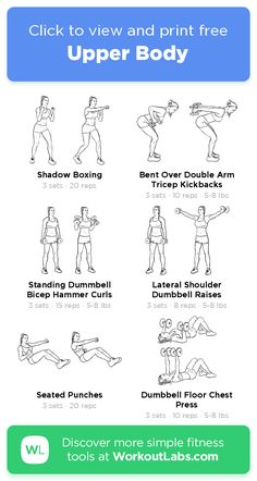 Upper Body – click to view and print this illustrated exercise plan created with #WorkoutLabsFit