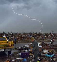 Moore, Oklahoma, Tornado damage. This is an amazing picture. Seriously, a thousand words wouldn't do it justice.