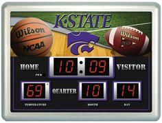 "Kansas State Wildcats Clock - 14""x19"" Scoreboard"