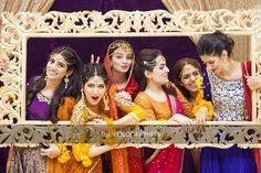 Girls having fun at Pakistani mehndi.