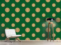 Design #Tapete Stilisierte Christbaumkugel Grün