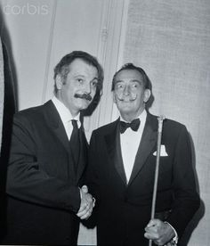 Salvador Dali and French singer and songwriter Georges Brassens. 1960