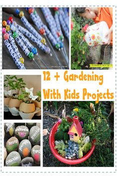 12 Simple Gardening With Kids Projects & Ideas - Lots of great ideas for both indoor and outdoor gardening and even an option for gardening without dirt (which I'm sure my kids will not go for this one)!!!