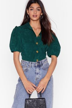 Cord-uroy of You Puff Sleeve Shirt Distressed Tee, Shirt Sleeves, Puff Sleeves, Pop Fashion, Shirt Shop, Nasty Gal, Corduroy, Denim Skirt, Nice Dresses
