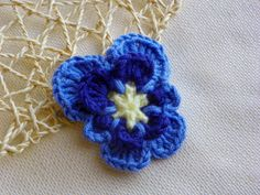 """Crochet Puple Pansy Flower Pin 3"""" Ready to Ship by LindenLeasCrochet"""