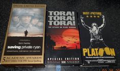 War Movie VHS Lot Saving Private Ryan Special Edition Platoon Tora Tora 3 Videos