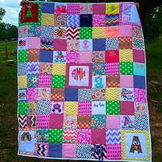 I'm not fond of quilts but this is super cute!  all the monogrammed items from birth to a year made into a quilt.  awesome.