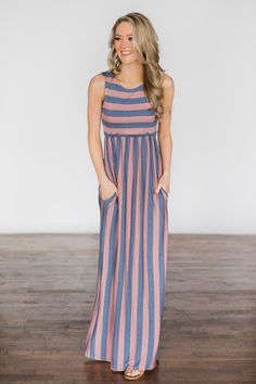 d90391f4408 Beach Daze Striped Maxi Dress ~ Mauve   Denim – The Pulse Boutique Mauve  Dress