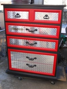 DIY tool chest dresser. For little boys room? This is an awesome idea and wouldn't cost that much to do.