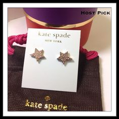SALE Kate Spade Twinkle Twinkle Rose Gold Twinkle Twinkle Stud earrings in Clear/Rose Gold by Kate Spade Shiny 12-karat gold plated metal with Pavé  crystals Shiny14-karat gold filled posts Includes original dust bag and gift box as shown.  PayPal  Trades  Holds kate spade Jewelry Earrings