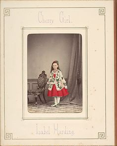 Cherry Girl Fancy Dress Costume, photographed by  Owen Angel. British, c 1875. Metropolitan Museum of Art