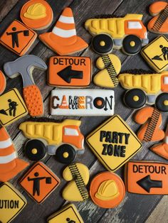 Delicious custom decorated sugar cookies for any occasion. Construction Cookies, Construction Birthday Parties, Construction Party, Construction Birthday Invitations, Construction Business, Construction Design, 2nd Birthday Party For Boys, Second Birthday Ideas, Farm Birthday