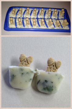 Fresh breath frosty paw  * mashed banana  * plain yogurt  * honey  * chopped parsley  * chopped mint  Mix place in an ice cube tray and add dog bone for easy removal puppies will love them and you'll love the fresh breath