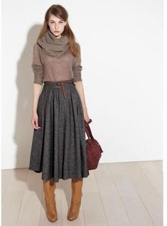 Grey Skirt And Brown Boots 2017 Street Style
