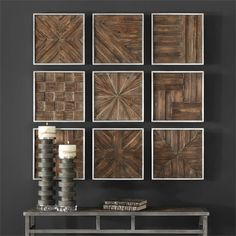Uttermost Bryndle Rustic Wooden Squares S/9 13x13 ea