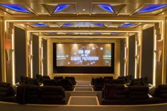 This subterranean movie theater has custom-designed stadium-style seating for 50 people.