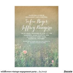 wildflowers vintage engagement party invites