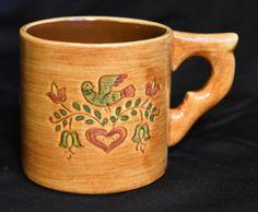 Pennsbury Pottery Folk Art Handled Cup Mug Dove And Heart Vintage Morrisville PA #PennsburyPottery #Americana