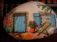 274 best images about Painted Rocks - Cottages, Buildings . Stone Art Painting, Pebble Painting, Pebble Art, House Painting, Rock Painting Patterns, Rock Painting Designs, Pierre Decorative, Decorative Rocks, Art Rupestre
