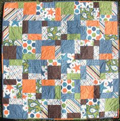Baby Boy Quilt disappearing nine patch