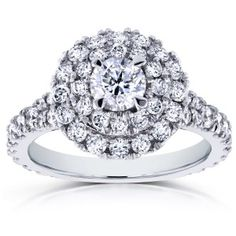 Round Diamond Cluster Cathedral Ring 1 3/4 CTW in 14k White Gold