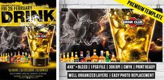 Drink Party – Premium Flyer Template http://www.exclusiveflyer.com/premium-templates/drink-party-premium-flyer-template/