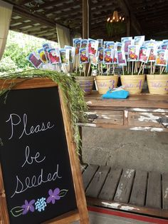 """Please be """"seeded"""". What a clever way for guest to find their table! #weddingseatingchart"""