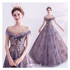 Elegant Purple Glitter Prom Dresses 2020 A-Line / Princess Scoop Neck Beading Rhinestone Sequins Lace Flower Short Sleeve Backless Sweep Train Formal Dresses Ball Gowns Evening, Formal Evening Dresses, Evening Party, Wedding Bridesmaid Dresses, Wedding Gowns, Formal Wedding, Purple Wedding, Glitter Prom Dresses, Robes D'occasion