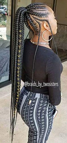 braided ponytail hairstyles for black girls Top Braided Ponytail Hairstyles 2019 For Black Women - Black Hair Hairstyles, Braided Ponytail Hairstyles, African Braids Hairstyles, My Hairstyle, Girl Hairstyles, Hairstyles 2018, Ponytail Styles, Braided Ponytail Black Hair, Lemonade Braids Hairstyles