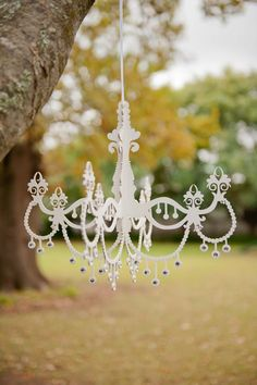 Wooden Chandelier, White Chandelier, Something Blue, Wedding Bells, Outdoor Gardens, Wedding Decorations, Doodles, Place Card Holders, Christmas Ornaments