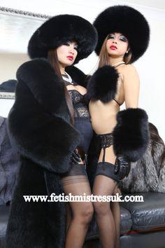 Black Fox Fur Bikini and Leather and Black Fox Fur Opera length Gloves.