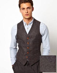 ASOS Slim Fit Suit in Grey Herringbone Finish