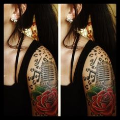 Rose and Microphone Tattoo