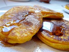 Apple pumpkin pancakes and rum spiced apple cider - yummy fall breakfast