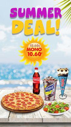 Για ένα νόστιμο και δροσερό καλοκαιράκι απολαύστε τη μοναδική προσφορά μας‼  1 οικογενειακή pizza της επιλογής σας + 1 μικρή σαλάτα + 1 Coca Cola 500ml + 1 πύραυλο Rodeo +1 Royal kri-kri μόνο με 10,60€!!!   Η προσφορά ισχύει για όλο τον Αύγουστο!!!   Rodeo, Coca Cola, Summer, Food, Summer Time, Coke, Essen, Meals, Yemek