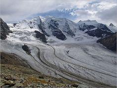 Alpen Berge Bergwetter Diavolezza Engadin Gletscher Landschaft Palü Wolken