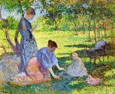 The Athenaeum - Poissy, Women in a Garden (Maximilien Luce - 1893)