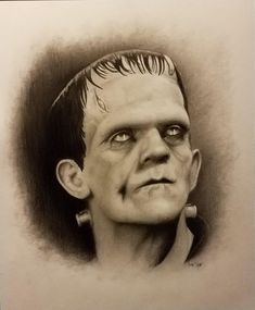 Frankenstein graphite, watercolor and colored pencil on Canson paper. Frankenstein Art, Tim Scott, Colored Pencils, Sick, Art Drawings, Watercolor, Portrait, Tattoos, Etsy