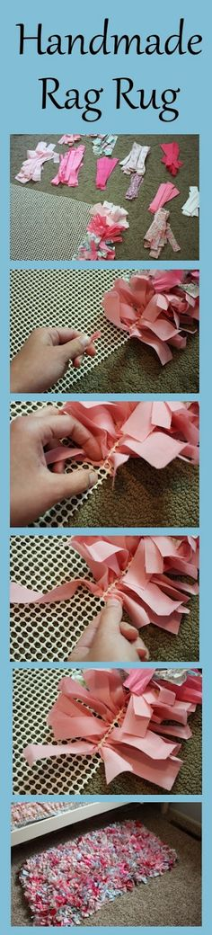 DIY Rug. Simple but super time consuming! These rugs are becoming an increasingly popular newborn photography prop. Here's how to make one yourself. Scrap fabric strips (approx. 2.5x12.5cm) weaved into a non-skid rug mat.