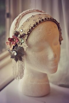 Antique Assuit Headdress Heirloom Cream Belly by theverdantmuse, $105.00