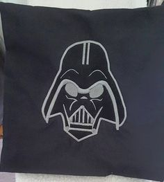 appliqued darth vader pillow. 16 x16 made of 100% cotton. Darth is Appliqued on making him look 3D with embroidery thread. You can wash this