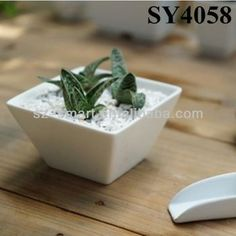 5 inches white square mini ceramic garden planter