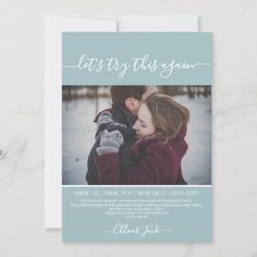 Dusty Blue Save The New Date Plan Change Photo Save The Date Photo Thank You Cards, Wedding Thank You Cards, Photo Cards, Wedding News, Wedding Events, New House Announcement, Announcement Cards, Good Cheer, Save The Date Cards