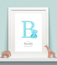 Personalised Animal Letters Baby Print